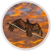 Vivid Vulture Round Beach Towel by Al Powell Photography USA