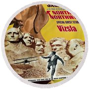 Vizsla Art Canvas Print - North By Northwest Movie Poster Round Beach Towel