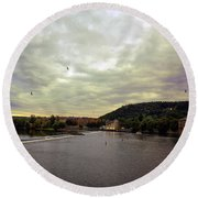 Vltava View Revisited - Prague Round Beach Towel