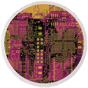 Vo96 Circuit 8 Round Beach Towel