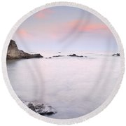 Volcanic Pink Sunset Round Beach Towel