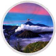Volcano In The Clouds Round Beach Towel