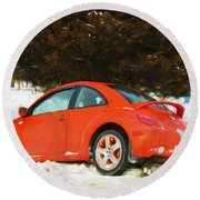 Volkswagen Snow Day Round Beach Towel