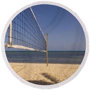 Vollyball Net On The Beach Round Beach Towel