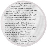 Voltaire Letter, 1740 Round Beach Towel