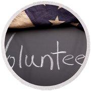Volunteer Sign On Chalkboard Round Beach Towel