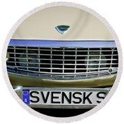 Volvo Grille Emblem -0198c Round Beach Towel