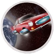 Volvo P1800 Goes Back To The Future Round Beach Towel