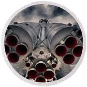 Vostok Rocket Engine Round Beach Towel