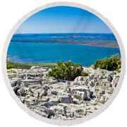 Vransko Lake And Kornati Islands Round Beach Towel