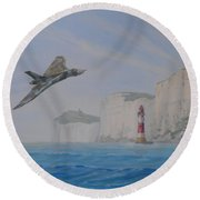 Vulcan Xh558 Passing Beachy Head Round Beach Towel by Elaine Jones