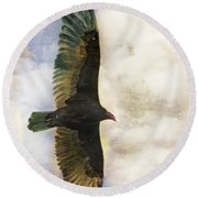Vulture In Color Round Beach Towel