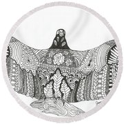 Vulture Wild Ink Round Beach Towel
