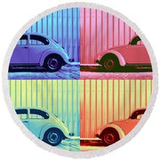 Vw Beetle Pop Art Quad Round Beach Towel by Laura Fasulo