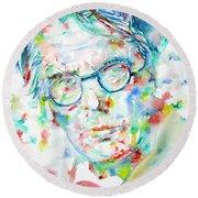 W. B. Yeats  - Watercolor Portrait Round Beach Towel