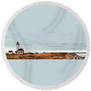 Wa State Lighthouse Round Beach Towel