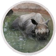 Wading Rhinos Round Beach Towel