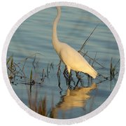 Wading The Pond Round Beach Towel