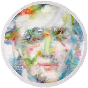 Wagner - Watercolor Portrait Round Beach Towel