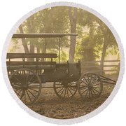 Wagon - Abe's Buggie Round Beach Towel by Mike Savad
