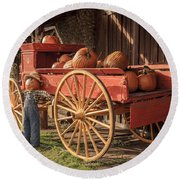 Wagon Full Of Pumpkins Round Beach Towel