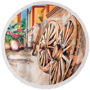 Wagon Wheels Round Beach Towel