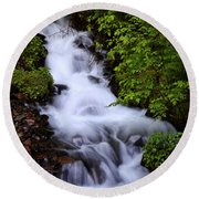 Wahkeena Falls In Oregon Round Beach Towel