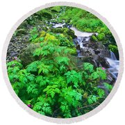 Wahkeena Falls In The Columbia River Gorge Round Beach Towel