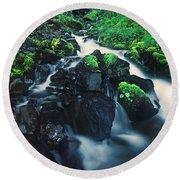 Wahkeenah Falls Columbia River Gorge Nsa Oregon Round Beach Towel