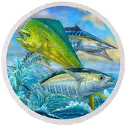 Wahoo Mahi Mahi And Tuna Round Beach Towel