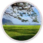 Waiahole Oahu Hawaii Round Beach Towel