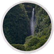 Wailua Stream Waiokane Falls View From Wailua Maui Hawaii Round Beach Towel