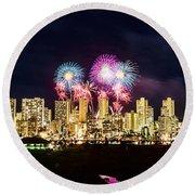 Waikiki Fireworks Celebration 2 Round Beach Towel