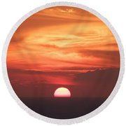 Waikiki Sunset No 2 Round Beach Towel