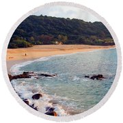 Waimea Bay Sunset Round Beach Towel