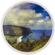 Waipo Valley Lookout-big Island Hawaii Round Beach Towel