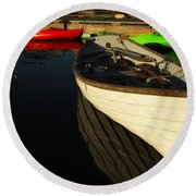 Waiting At The Dock Round Beach Towel