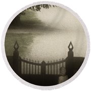 Waiting At The Gate Round Beach Towel