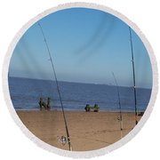 Waiting For A Catch Round Beach Towel