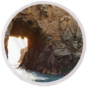Waiting For Godot - Arch Rock In Pfeiffer Beach In Big Sur. Round Beach Towel
