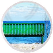 Waiting For Summer - The Green Bench Round Beach Towel