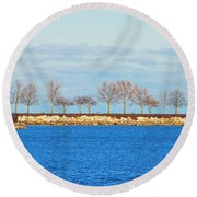 Waiting For Summer - Trees At The Edge Round Beach Towel by Mary Machare