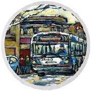Waiting For The 80 Bus Montreal Memories Winter City Scene Painting January Art Carole Spandau Art Round Beach Towel
