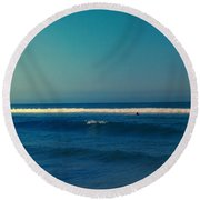 Waiting For The Perfect Wave Round Beach Towel
