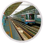 Waiting For The Sky Train In Bangkok-thailand Round Beach Towel