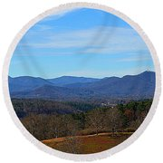 Waiting For Winter In The Blue Ridge Mountains Round Beach Towel