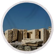 Waiting Tablets At Acropolis Round Beach Towel