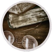 Waiting To Be Read I Round Beach Towel