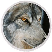 Waiting Wolf Round Beach Towel
