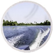 Wake From The Wash Of An Outboard Motor Boat In A Lagoon Round Beach Towel